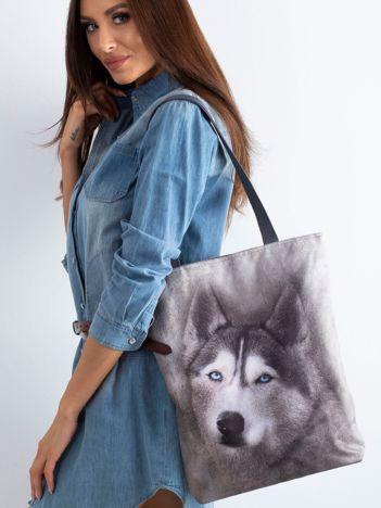 Szara materiałowa torba z nadrukiem husky