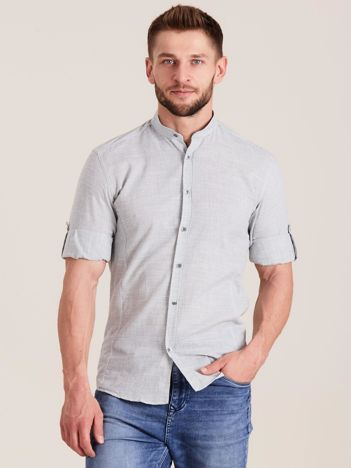 Szara męska koszula z podwijanymi rękawami
