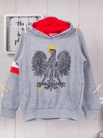 Szara ocieplana bluza chłopięca z patriotycznym nadrukiem