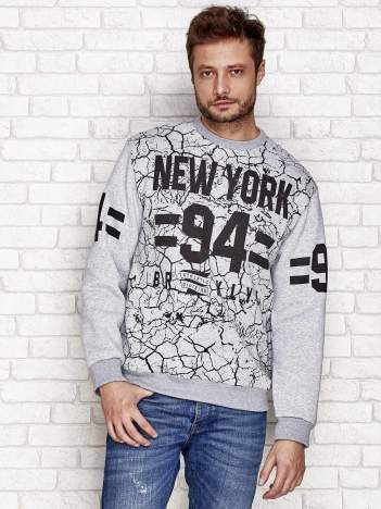 Szara ocieplana bluza męska z napisem NEW YORK 94