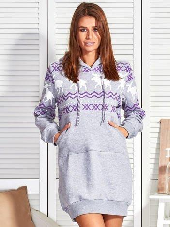 Szara ocieplana bluza w norweskie wzory
