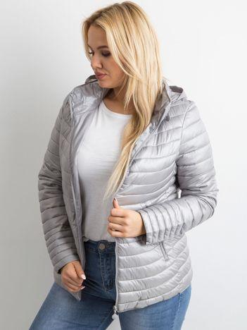 Szara pikowana kurtka plus size
