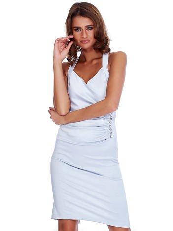 Szara satynowa sukienka z koronkową wstawką z tyłu