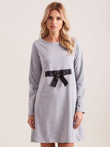 Szara sukienka bawełniana z kokardą