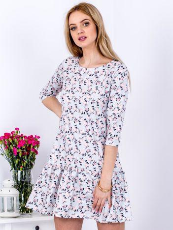 Szara sukienka w drobny kwiatowy wzór