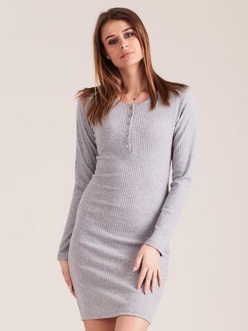 Szara sukienka w prążek z guzikami