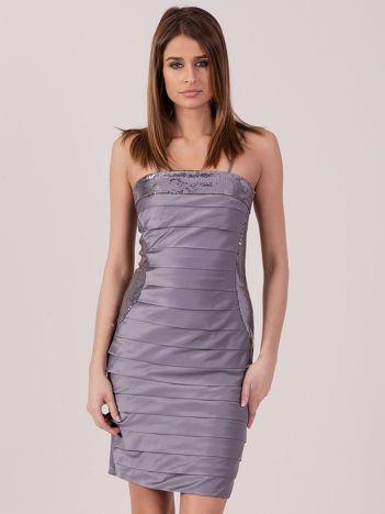 Szara sukienka z cekinowymi modułami