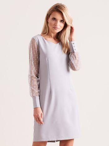 Szara sukienka z mankietami