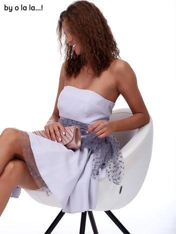 Szara sukienka z ozdobnym wiązaniem BY O LA LA