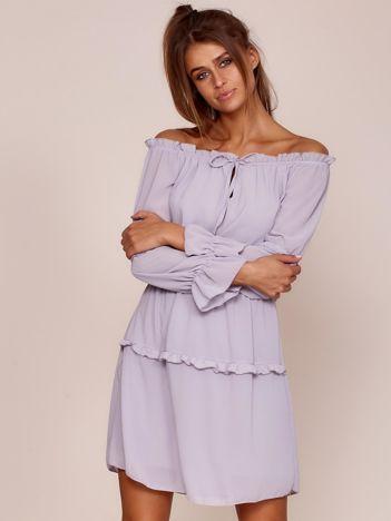 Szara sukienka z wiązaniem i drobnymi falbankami