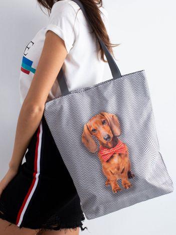 Szara torba materiałowa z nadrukiem psa