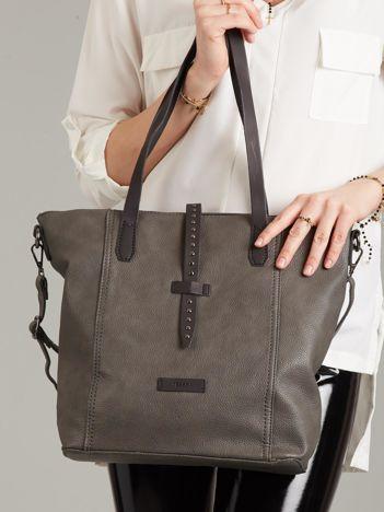 Szara torba shopper ze skóry ekologicznej