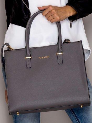 Szara torba w miejski stylu ze złotymi suwakami