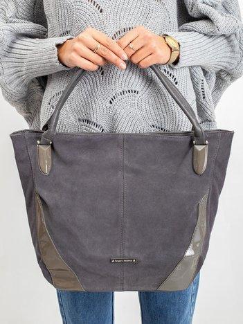Szara torba z lakierowanymi wstawkami