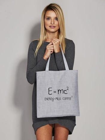 Szara torba z napisem