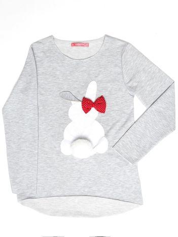 Szara tunika dla dziewczynki z króliczkiem