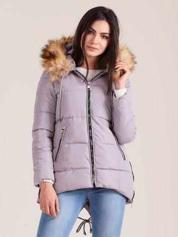 Szara zimowa kurtka z futerkiem