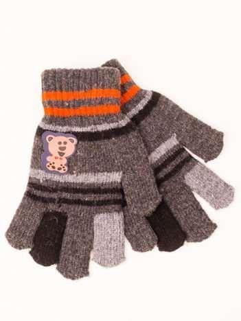 Szare WEŁNIANE Dziecięce Rękawiczki z MISIEM 16,5cm (5-9lat)