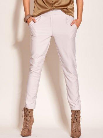 Szare materiałowe spodnie z szerokim pasem