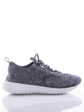 Szare melanżowe buty sportowe na sprężystej podeszwie z ozdobnym sznurowaniem