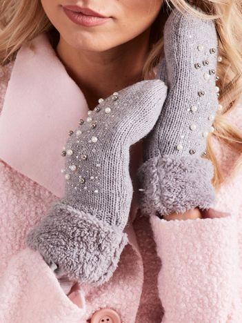 Szare rękawiczki damskie z aplikacją