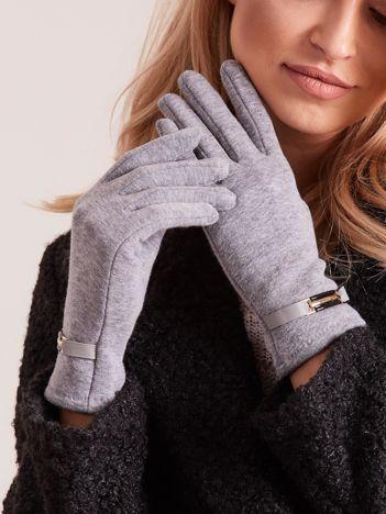 Szare rękawiczki damskie z klamerką