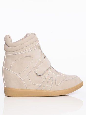 Szare sneakersy z cholewką za kostkę zapinane na rzepy