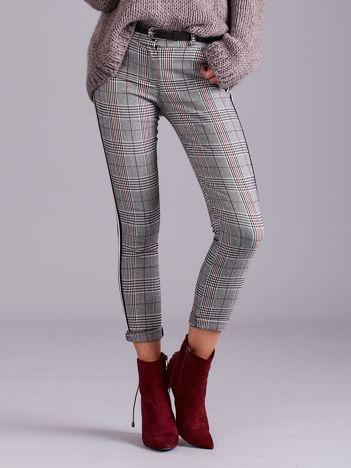Szare spodnie w kratę z lampasem