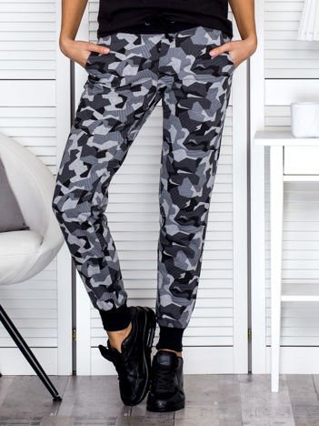 Szare wzorzyste spodnie dresowe ze ściągaczami