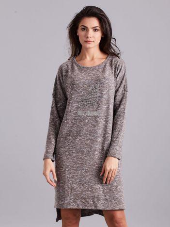 Szaro-beżowa asymetryczna sukienka z aplikacją