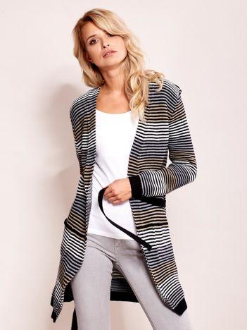 Szaro-beżowy długi sweter w paski z kieszeniami i wiązaniem