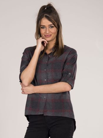 Szaro-bordowa koszula w kratę