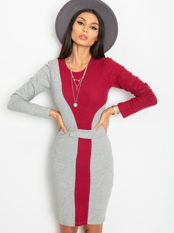 Szaro-bordowa sukienka Pringle