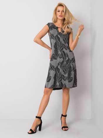 Szaro-czarna sukienka Middy