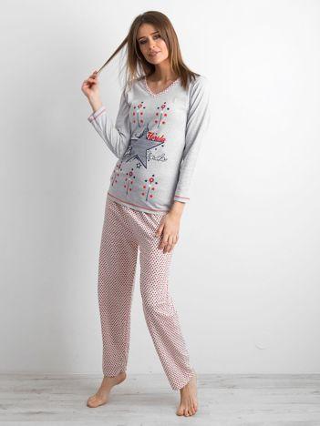 Szaro-czerwona dwuczęściowa piżama damska