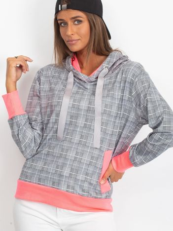 Szaro-fluoróżowa lekka bluza w kratkę z kapturem i troczkami