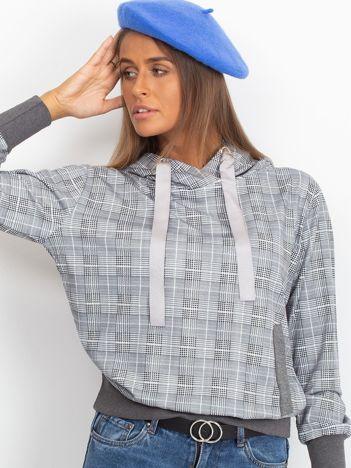 Szaro-grafitowa lekka bluza w kratkę z kapturem i troczkami