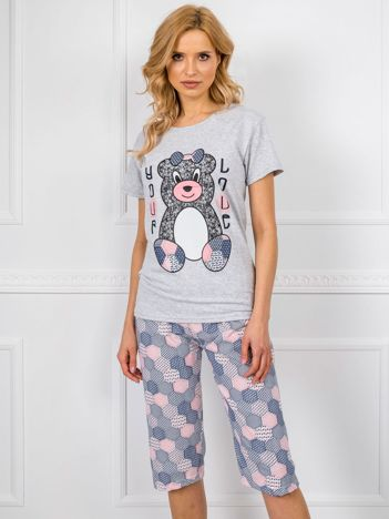 Szaro-granatowa piżama z bawełny