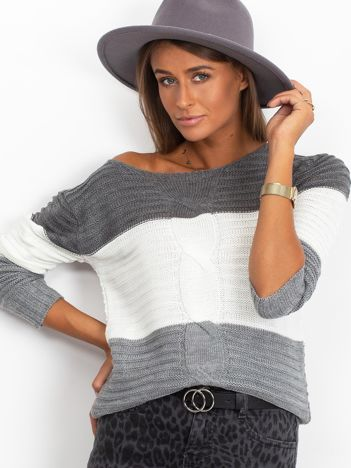 Szaro-kremowy sweter damski