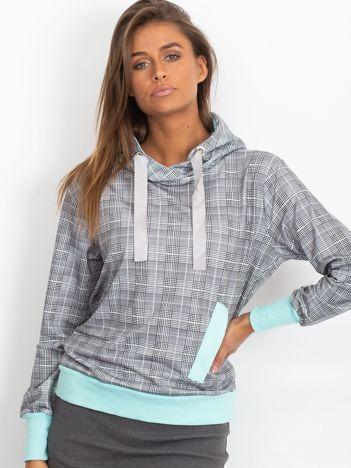 Szaro-miętowa lekka bluza w kratkę z kapturem i troczkami