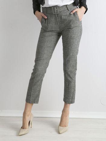 Szaro-niebieskie spodnie cygaretki z paskiem