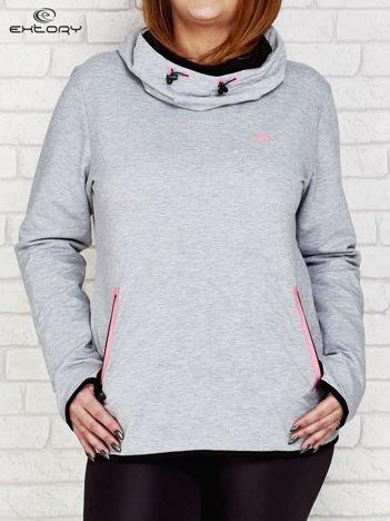 Szaro-różowa bluza z kontrastowymi lamówkami