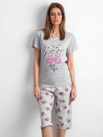 Szaro-różowa piżama w sowy