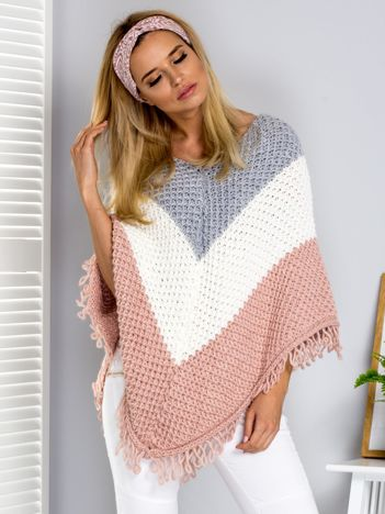 Szaro-różowy sweter poncho tricolor