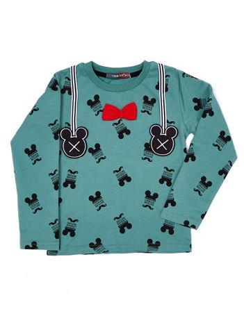 Szaro-zielona bawełniana bluzka dziecięca z nadrukiem Myszki Mickey