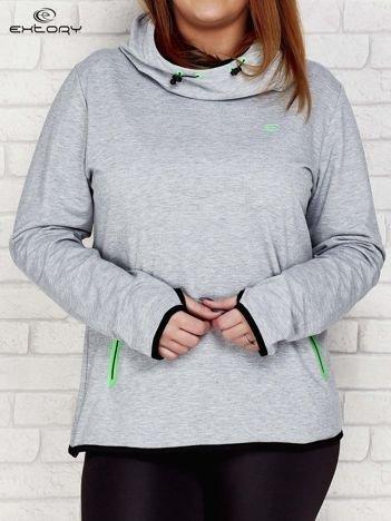 Szaro-zielona bluza z kontrastowymi lamówkami