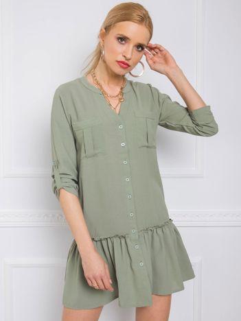 Szaro-zielona sukienka Carlo RUE PARIS