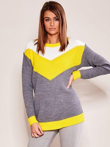 Szaro-żółty sweter w bloki kolorów