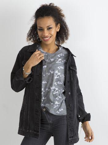 Szary bawełniany t-shirt moro