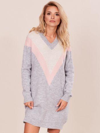 Szary damski długi sweter